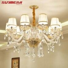 hot deal buy luxury candle crystal chandelier lighting fixtures modern led lustres de cristal hanging lamps for bedroom living room