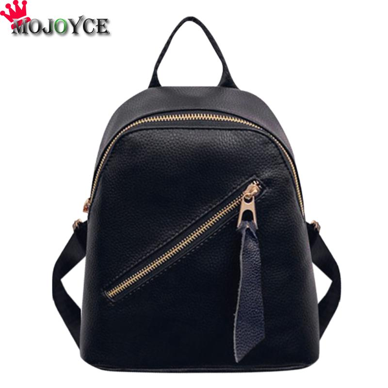 Simple Women Zipper PU Leather School Shoulder Bag Teenagers Students Small Travel Daypack Backpacks Female Girls Solid Backpack