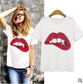Free Shipping Female T shirt Fashion Sequined Mouth Print T-shirt Women Tops Casual Short Sleeve Cotton T-shirts For Women S-XL