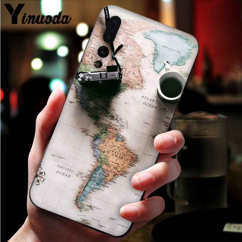 Yinuoda العالم خريطة السفر اذهبوا الهاتف حافظة لهاتف huawei Mate9 10 Mate10 لايت P9 P10 زائد P20 برو Honor10 View10 الهواتف المحمولة