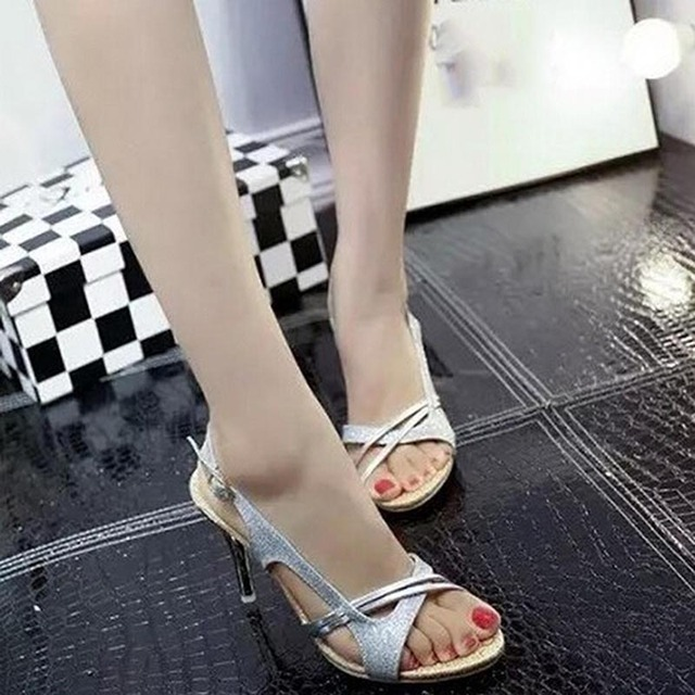 Fashion Women Sandal Thin High Heels Sandals Gold Ladies Summer Shoes Gladiator Heels open toe Hollow Out Bling Glitter PU