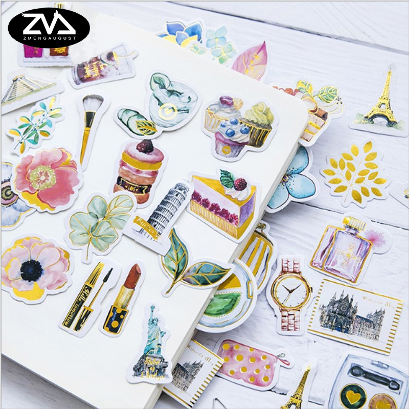 45pcs/lot Original bronzing paper sticker package decoration Stickers Diary Decoration Scrapbooking diy seal Sticker Stationery 45pcs box cute animal crystal ball mini paper decoration stickers diy diary scrapbooking seal sticker stationery school supplies