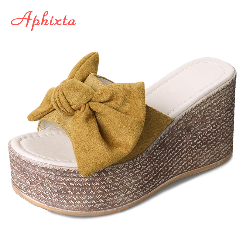 Aphixta Summer Women Wedge Slippers Platform Appliques Butterfly-knot Beach Antiskid Female Sandals Clog Shoes Slides Women