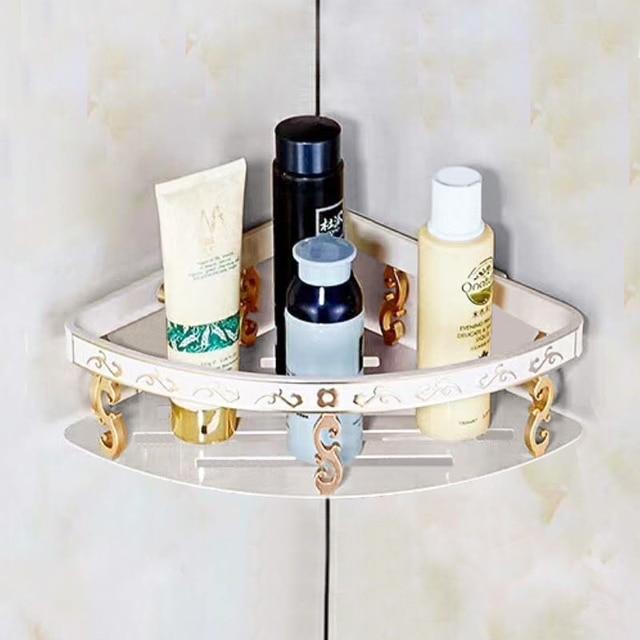 Ordinaire FLG Bathroom Shelves Space Aluminum White With Gold Bathroom Storage Basket  Wall Mount Bathroom Shelf