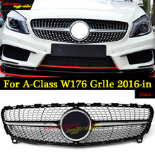 W176 Diamond Front Grille ABS Glossy Black For MercedesMB A Class A180 A200 A250 A45 Sports Without sign Grill Grilles 2016-in
