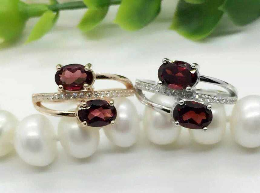 Natural red garnet gem Ring Natural gemstone ring 925 sterling silver trendy Romantic double women's girl gift fine Jewelry