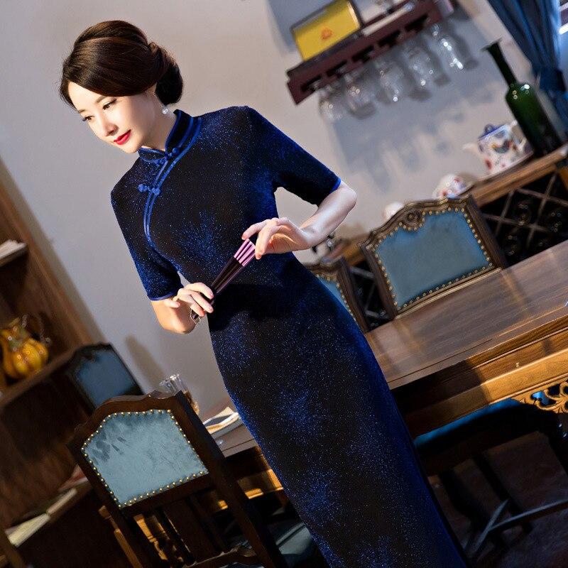 Blue Vintage font b Women s b font Velour Long Cheongsam font b Fashion b font