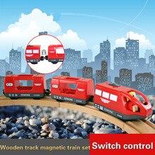 Dzieci pociąg elektryczny zabawki magnetyczne gniazdo elektryczne kolejowe z trzema wózkami drewniany tor kolejowy zestaw FIT Thomas drewniany tor Brio
