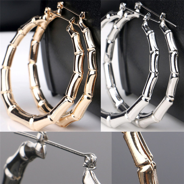 large bamboo Silver hoop earrings 2cYrcz