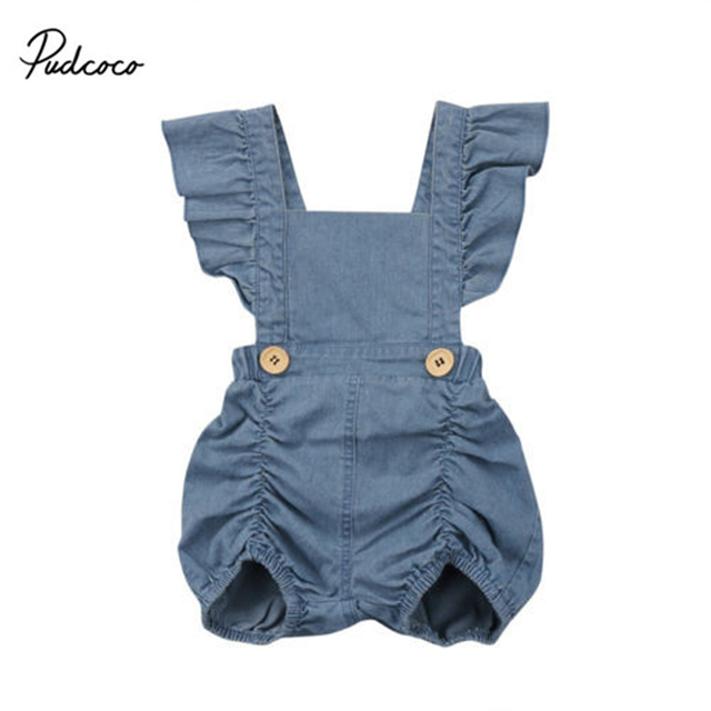 013fc0a81211 2018 New Denim Romper Cute Newborn Baby Girl Strap Backless Button Sunsuit Children  Clothes 0-24M