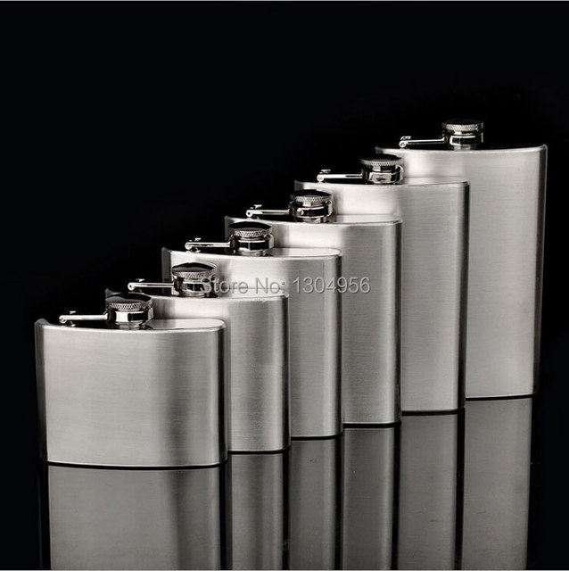 2~10Oz Portable Hip Flask Stainless Steel Liquor Wine Bottles with Funnel Silver Drinkware 10pcs/lot JH5A0D11