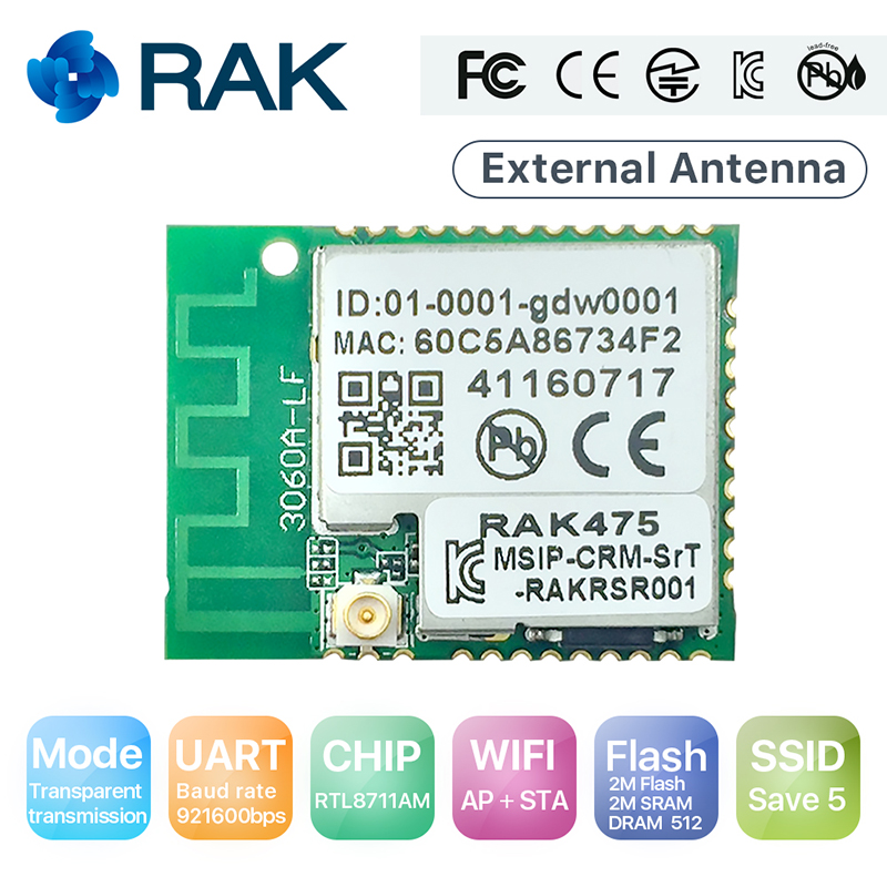 RAK475 Low Power Tiny Size Serial to WIFI Industrial Module AP STA Mode Wireless IoT Module with External Antenna Q115 iot projects with bluetooth low energy