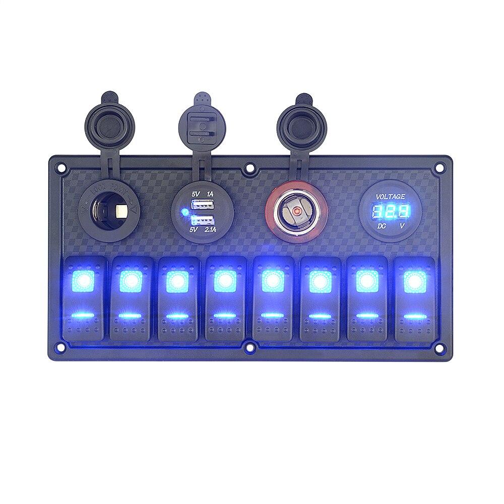 8 Gang Switch Panel LED Light ON OFF Car Boat Rocker Dual USB Cigarette Lighter Socket