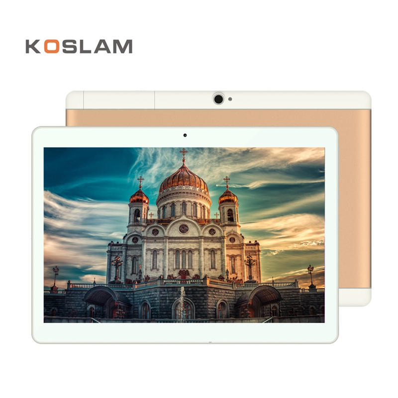 Купить с кэшбэком KOSLAM 10 Inch Android 7.0 Tablet PC 1920x1200 IPS Screen Quad Core 2GB RAM 16GB ROM Dual SIM Card 4G LTD FDD Phone Call Phablet