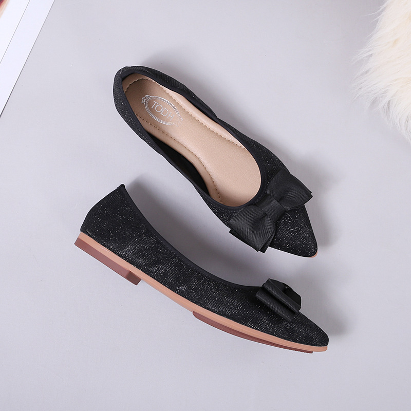 2019 new womens shoes flats luxury ballet flats loafers Pointed fashion casual shoes woman Butterfly knot Soft bottom Slip On in Women 39 s Flats from Shoes