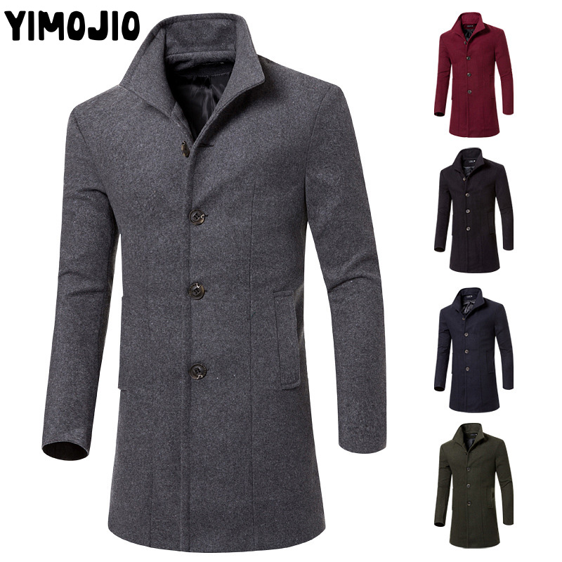 YIMOJIO Coat Men Casual Long Jacket Men Trench Coat Streetwear Slim Long Coat Men Solid Male Windbreaker Trenchcoat Men Warm Hot