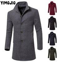YIMOJIO Coat Men Casual Long jacket men Trench coat Streetwear Slim Long coat men Solid Male Windbreaker Trenchcoat men Warm Hot