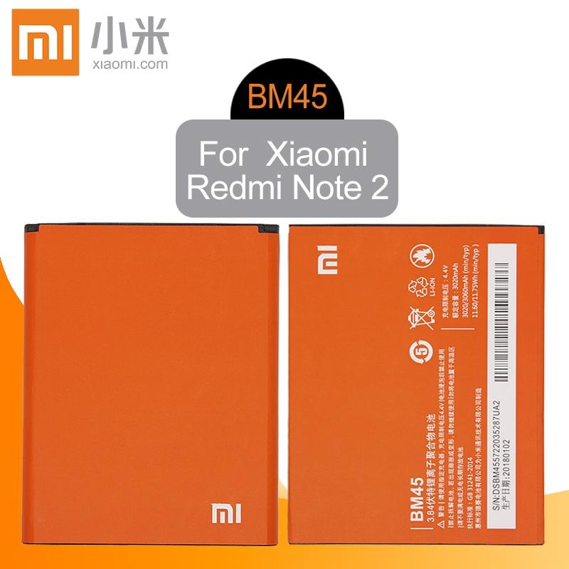 Xiao mi оригинальный BM45 мобильного телефона Батарея для Xiaomi Redmi Note 2 Hongmi note2 замены батареи реальная Ёмкость 3020 мАч