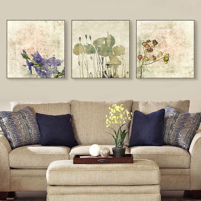 Watercolor Painting Purple Flower Canvas Oil Paint Office