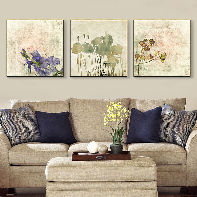 Watercolor Painting Purple Flower Canvas Oil Paint Office ...