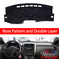 Rose Pattern For Toyota corolla E140 E150 2007 2008 2013 Dashboard Cover Car Stickers Car Decoration Car Accessories Car Decals