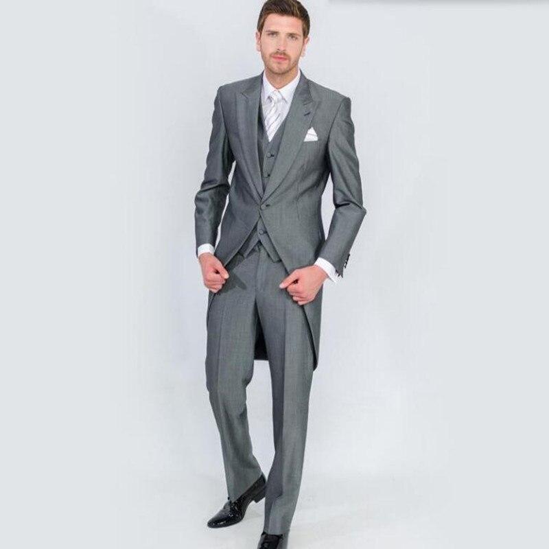 2017 Perfect Male Suits Peaked Lapel one Button Fashion grey men Suit Groomsman tailcoat Wedding men Suits (Jacket+Pants+vest)