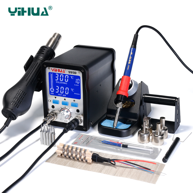 Upgrade Vision YIHUA 995D Hot Air Soldering Station LCD Screen SMD BGA Rework Station 60W Large Soldering Iron Soldering цена