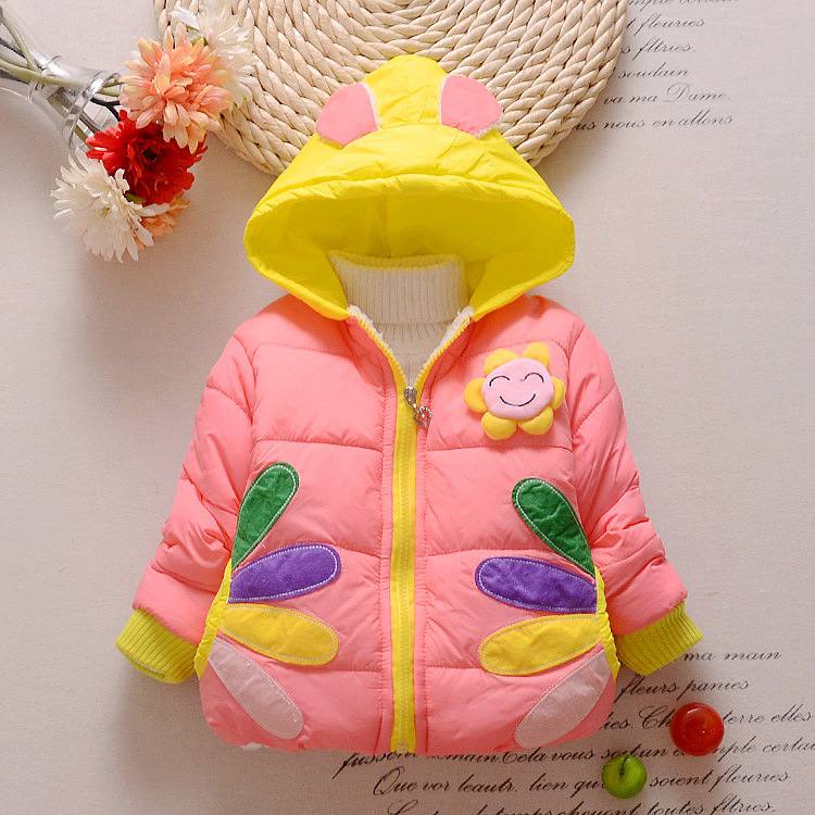 2016 new girls outerwear cotton winter Hooded coats Kids jacket winter baby Girls clothing set Down & Parkas fashion sumflower new 2016 baby down coats set baby down jacket suspenders girl