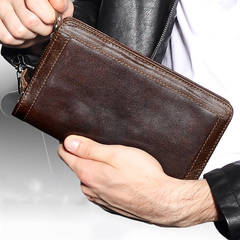 Large Capacity Genuine Leather Man Wallet Card Holder Credit Card Coin Purse Men Wallets Male Clutch Wallet Men Long Wallets цена 2017