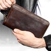 Große Kapazität Echtem Leder Mann Brieftasche Karte Halter Kreditkarte Geldbörse Männer Brieftaschen Männlichen Kupplung Brieftasche Männer Lange Brieftaschen-in Geldbeutel aus Gepäck & Taschen bei
