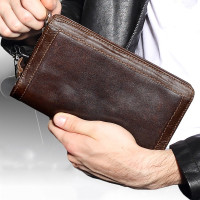 Large Capacity Genuine Leather Man Wallet Card Holder Credit Card Coin Purse Men Wallets Male Clutch Wallet Men Long Wallets