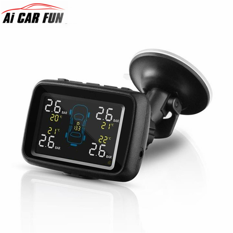 U901 Auto Truck TPMS Car Wireless Tire Pressure Monitoring System 4 Internal/External Sensors LCD Display PSI & BAR car tpms tire pressure wireless monitoring temperature system psi bar usb alarm 4 external sensors auto tire pressure alarm lcd