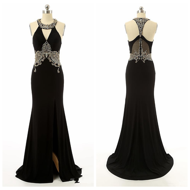 Elegant Black Beaded Mermaid Evening Dresses Prom Gowns Real Pictures Sleeveless Sexy Split Front Special Occasion Party Dress