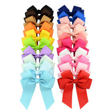 1 Pcs 3.5inch Boutique Grosgrain Ribbon Baby Girls Hair Bows With Clips For Teens Toddlers 617(China)
