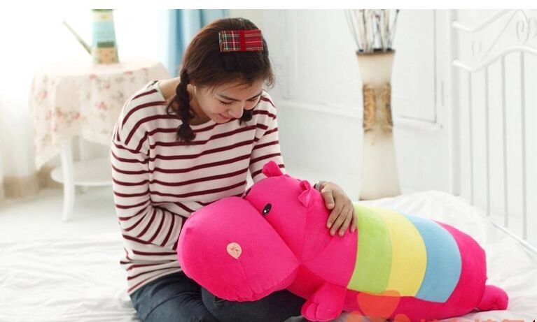 stuffed animal cute hippo plush toy 90cm hippo doll multicolor  Cushion throw pillow about 35 inch toy p0451 the huge lovely hippo toy plush doll cartoon hippo doll gift toy about 160cm pink