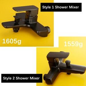 Image 5 - Роскошный смеситель для ванны черного цвета, раздвижная штанга, набор для душа, настенный смеситель, система для ванной комнаты, насадка для душа AH3011