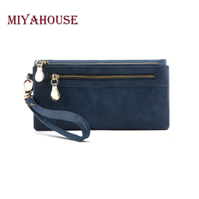 Miyahouse Women Long Wallets Dull Polish Leather Wallet Double Zipper Day Clutch Purse Female Zipper Coin Purse Lady Wristlet