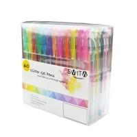 60PCS Gel Pen Set Refills Metallic Pastel Neon Glitter Sketch Drawing Color Pen School Stationery Marker for Kids Gifts