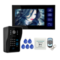 "Wholesale Wired Touch Key 7"" Video Door Phone Intercom System 1 RFID Keypad Code Number Doorbell Camera 1 Monitor FREE SHIPPING"