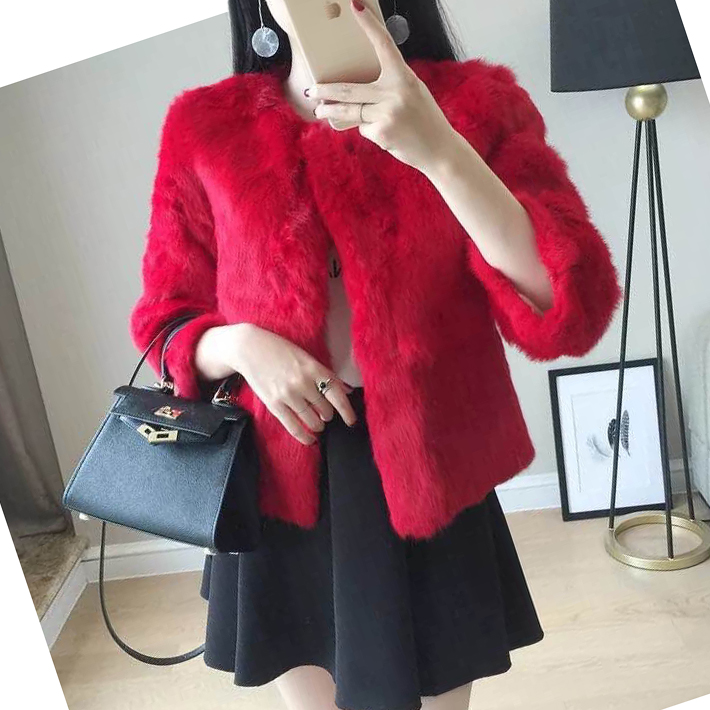 ee900f22196 Abrigo Mujer Casual Pink Red Black Faux Fur Winter Coat Women Fake Rabbit  Hair Cardigan Female. US  28.91. 2 orders. Luxury Long Sleeve Faux Fur Coats  ...