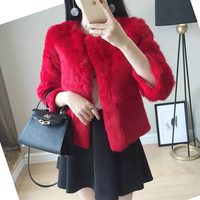 Abrigo Mujer Casual Pink Red Black Faux Fur Winter Coat Women Fake Rabbit Hair Cardigan Female Gothic Short Coats Fall Outerwear