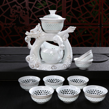 New Dragon Porcelain Tea Set Dehua Kung Fu Cups Automatic White Ceramic Hollow Transparent Blue and White Sets