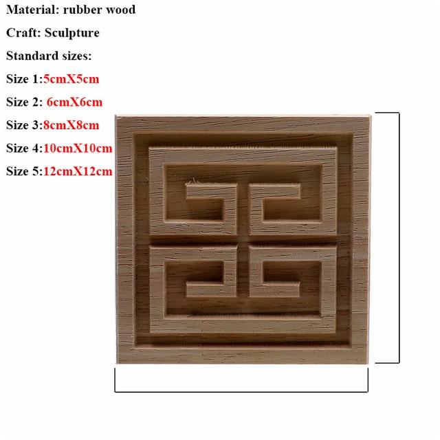 VZLX Square Wood Applique Carved Decal Corner Onlay Unpainted Furniture For Vintage Home Decor Door Cabinet Decoration Maison 2