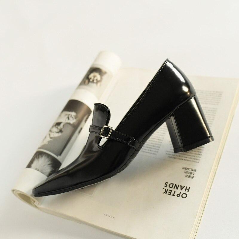 ISNOM wysokie obcasy pompy kobiety plac Toe obuwie krowa skórzane buty biurowe, żeński, moda klamra buty kobieta wiosna 2019 nowy w Buty damskie na słupku od Buty na  Grupa 2