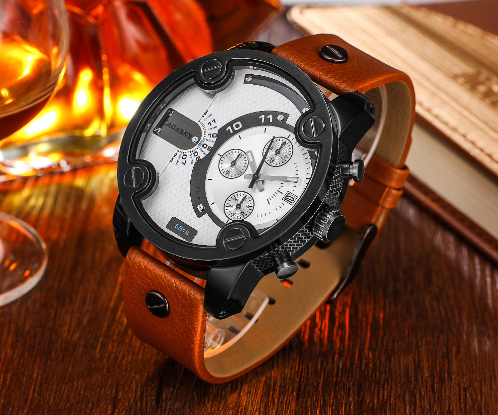 Big Watch Men Luxury Cagarny Military Mens Wrist Watches Casual Quartz Wristwatches Leather Bracelet Relogio Masculino D6819 New minifocus military sports watches for men leather clock big double dial quartz watch men relogio masculino de luxo wristwatches