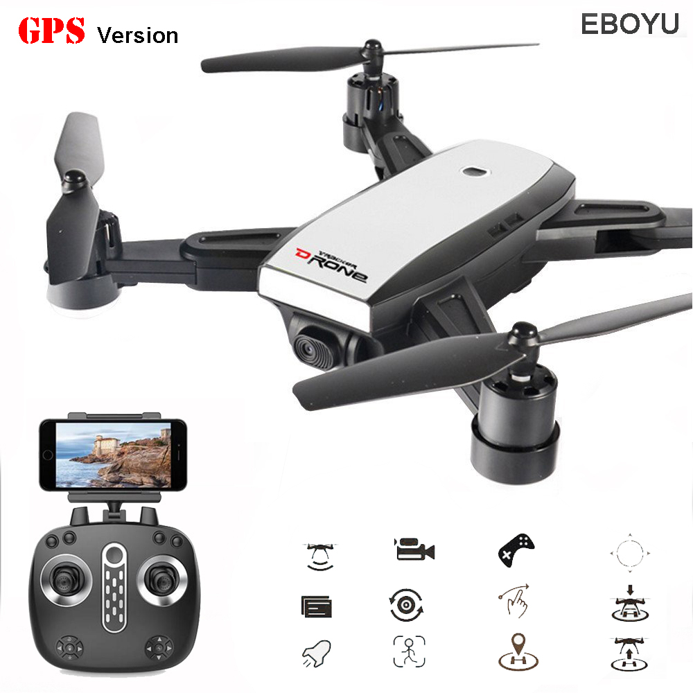EBOYU LH-X28GWF Dual GPS FPV 2.4G 4 Axis RC Quadcopter Foldable Drone with 720P HD Camera Wifi Headless Mode RC Drone RTF newest apple shape foldable wifi fpv rc drone rc130 2 4g apple quadcopter with 6axis gryo with 720p wifi hd camera rc drones
