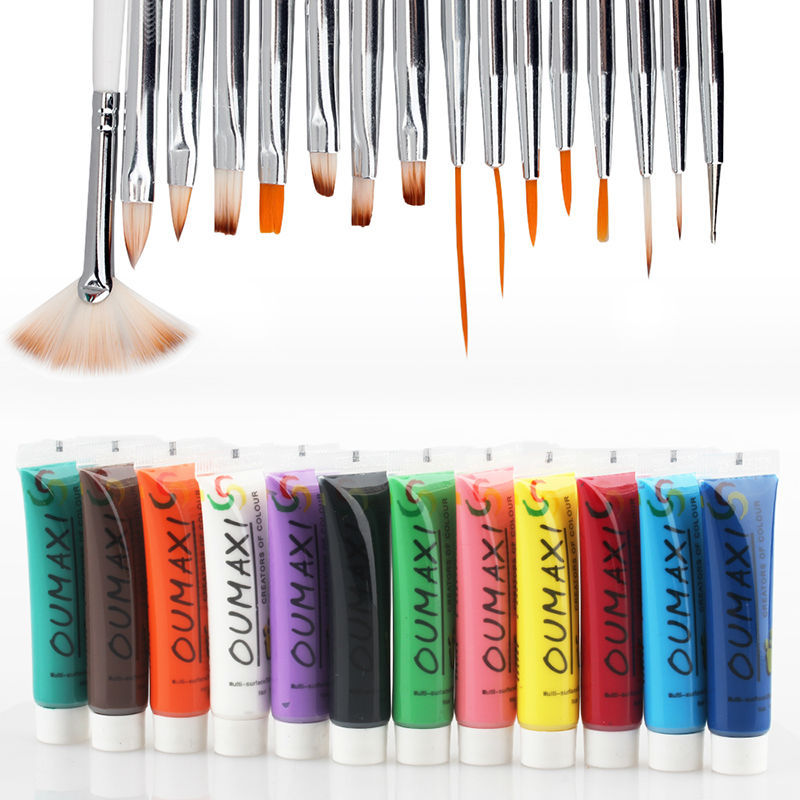 Professional 12 Colours 3D Manicures Set Nail Art Paint Brush Pen ...