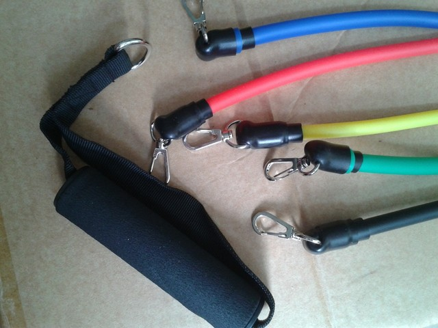 Free shipping 11 pcs set Latex Resistance Bands Set Resistance Tube Elastic Exercise Bands for Yoga