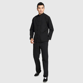 Plus Size Chinese Men's Solid Kung Fu Suit 100% Cotton Loose Wu Shu Tai Chi Sets Jacket&Trousers M L XL XXL 3XL 4XL YZT090610 chinese tradtional costume men s cotton suit jacket coat size m 3xl