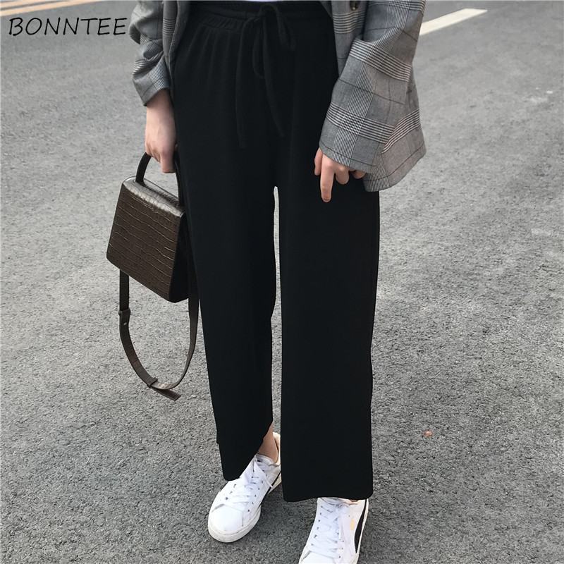 Pants   Women High Waist   Wide     Leg     Pant   Solid Color Simple Chic Womens Clothing Elastic Ankle-Length Ladies All-match Korean Capris